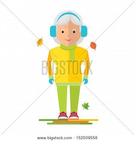 Elderly Woman On Autumn Walk