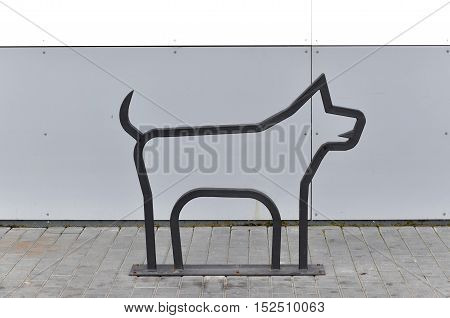 Grodno, Belarus - September 6, 2016: Metal linear construction in the form of a dog silhouette. Pet Design near the modern shopping center. Grodno, Belarus.