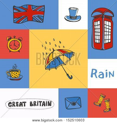 Great Britain checkered concept in national colors. Umbrella, telephone box, cylinder hat, Union Jack, five o'clock tea, gumboots hand drawn vector icons. Country related doodle symbols and text. England vector art. England travel symbols.