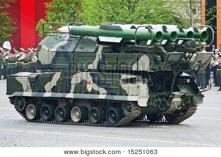 MOSCOW - MAY 6: BUK-M2 missile system. Dress rehearsal of Military Parade on 65th anniversary of Victory in Great Patriotic War on May 6, 2010 on Red Square in Moscow, Russia