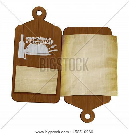 Template restaurant menu two cutting boards and old paper for text or image. Isolated objects can be used with any background, image or text.