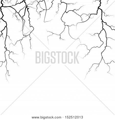 Thunder bolts vector frame in black color isolated on white background illustration