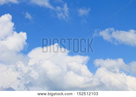 Fluffy white clouds in the blue sky
