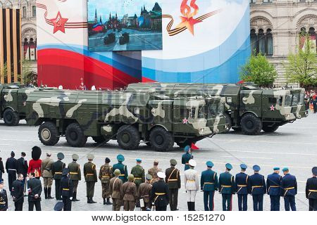 MOSCOW - MAY 6: Iskander - Tactical ballistic missile. Dress rehearsal of Military Parade on 65th anniversary of Victory in Great Patriotic War on May 6, 2010 on Red Square in Moscow, Russia