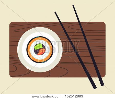 Sushi on wooden plate with pair of chopsticks vector illustration