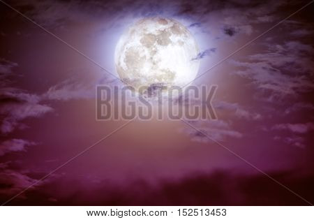 Nighttime Sky With Clouds And Bright Full Moon.