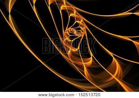 Golden swirl. Abstract glowing lines on black background. Minimalistic fractal design in orange and yellow colors. Digital art. 3D rendering.