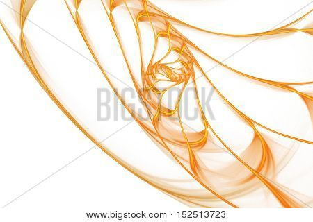 Golden swirl. Abstract glowing lines on white background. Minimalistic fractal design in orange and yellow colors. Digital art. 3D rendering.