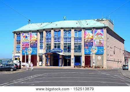 WEYMOUTH, UNITED KINGDOM - JULY 18, 2016 - Front view of the pavilion at the edge of the pier Weymouth Dorset England UK Western Europe, July 18, 2016.