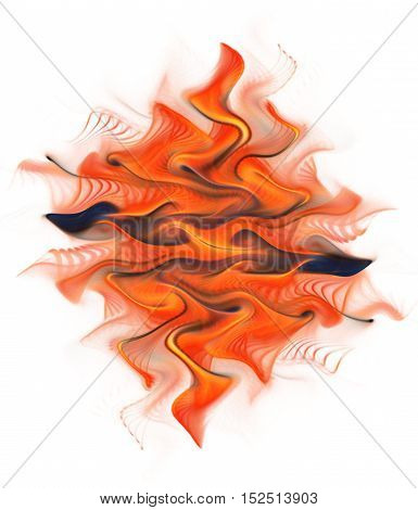 Abstract red orange and navy blue swirly shapes on white background. Fantasy fractal design for posters greeting cards or t-shirts. Digital art. 3D rendering.
