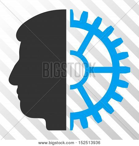 Blue And Gray Android Head interface toolbar icon. Vector pictogram style is a flat bicolor symbol on diagonal hatch transparent background.