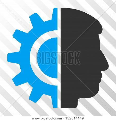 Blue And Gray Android Robotics interface toolbar icon. Vector pictogram style is a flat bicolor symbol on diagonal hatch transparent background.