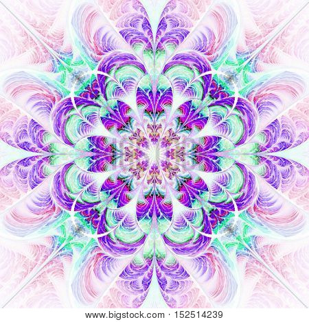 Abstract flower ornament on white background. Symmetric fractal pattern in pink blue purple and green colors. Stylish vintage design for wallpapers or textile. Digital art. 3D rendering.
