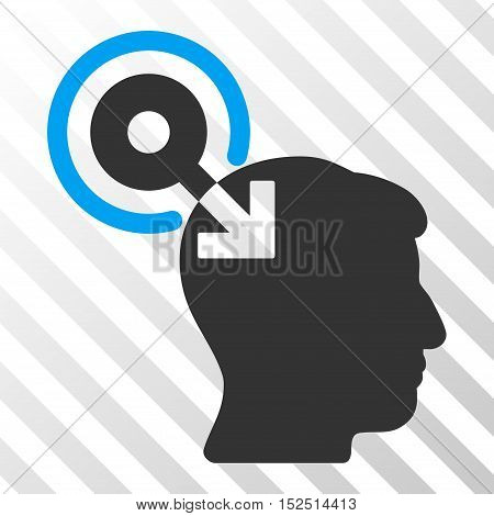 Blue And Gray Brain Interface Plug-In interface icon. Vector pictogram style is a flat bicolor symbol on diagonal hatch transparent background.