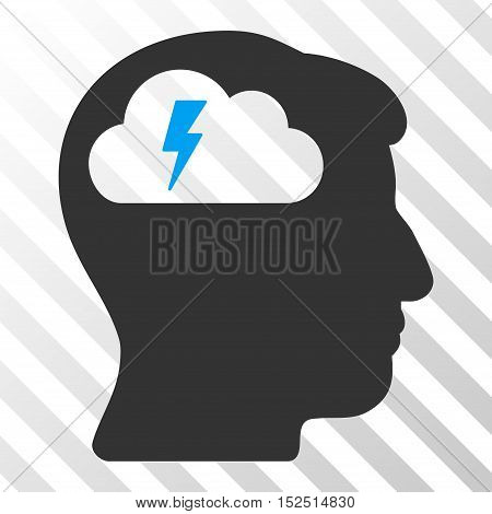 Blue And Gray Brainstorming interface icon. Vector pictogram style is a flat bicolor symbol on diagonal hatch transparent background.