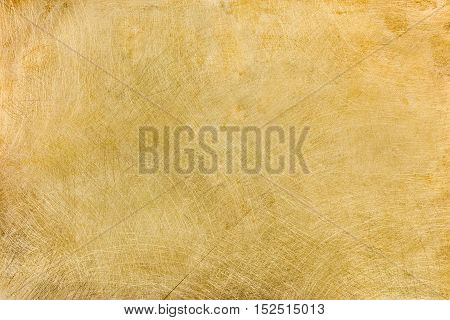Industrial Brushed Brass Plate With Multiple Scratches Background