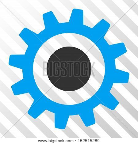 Blue And Gray Cogwheel interface toolbar pictogram. Vector pictograph style is a flat bicolor symbol on diagonal hatch transparent background.