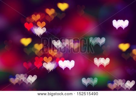 Colorful heart bokeh abstract pattern background for Valentine's day.
