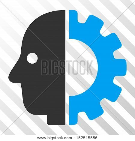 Blue And Gray Cyborg Head interface pictogram. Vector pictograph style is a flat bicolor symbol on diagonal hatch transparent background.