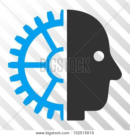 Blue And Gray Cyborg Head interface toolbar pictogram. Vector pictograph style is a flat bicolor symbol on diagonal hatch transparent background.