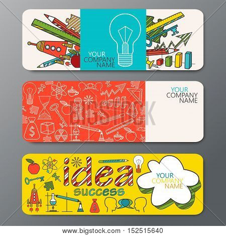 Vector banner set in doodle style with a pattern of icons ideas symbols