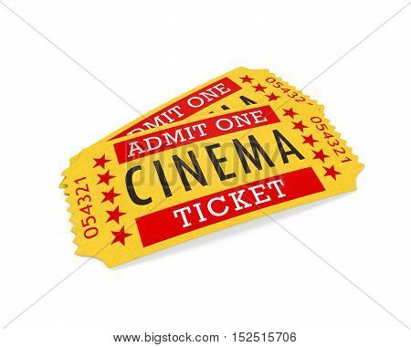 Cinema Tickets isolated on white background. 3D render
