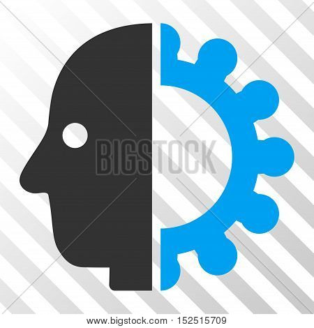 Blue And Gray Cyborg Head interface toolbar icon. Vector pictogram style is a flat bicolor symbol on diagonal hatch transparent background.