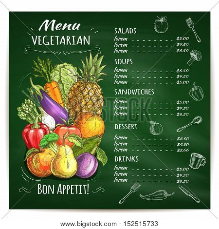 Vegetarian food restaurant menu design template with sketched vegetables, fruits and chalked layout of dishes list with prices on green blackboard