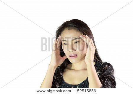 Woman having a headache isolated white background.