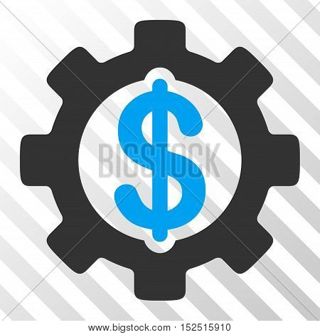 Blue And Gray Development Cost interface pictogram. Vector pictograph style is a flat bicolor symbol on diagonal hatch transparent background.