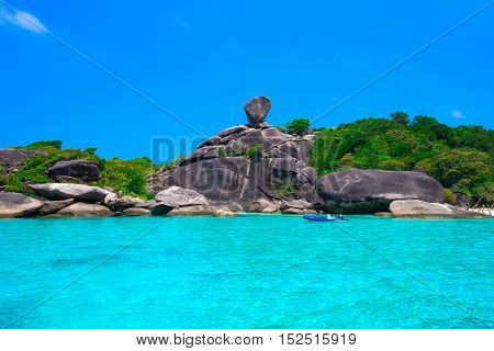 Beautiful sea and blue sky at Similan island, Andaman sea, Thailand