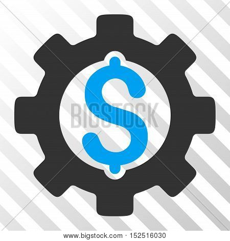 Blue And Gray Development Cost interface toolbar pictogram. Vector pictogram style is a flat bicolor symbol on diagonal hatch transparent background.