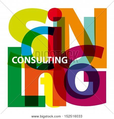 Vector consulting. Isolated confused broken colorful text