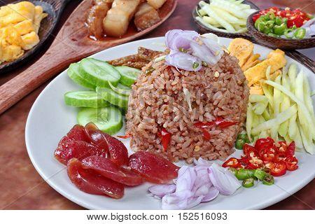 Close up fried jasmine rice with shrimp paste call