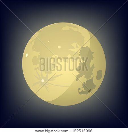 Moon. Yellow moon on a dark background. Vector