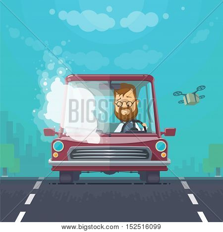 Trendy flat design vehicle sedan car accident after a car accident, a broken traffic and surly driver, background town trees, the sky with cargo quadrocopter, vector illustrations