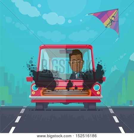 Trendy flat design vehicle sedan car accident after a car accident a broken traffic and surly driver, hang-glider in the sky, vector illustrations