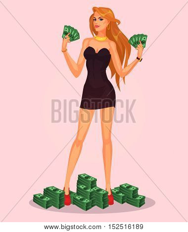 Vector sexy girl holding in hands cash