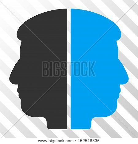 Blue And Gray Dual Face interface toolbar pictogram. Vector pictograph style is a flat bicolor symbol on diagonal hatch transparent background.