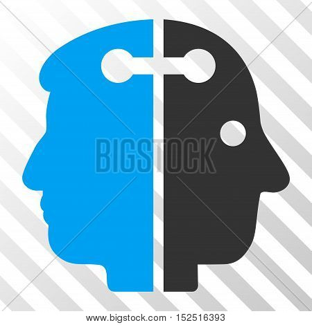 Blue And Gray Dual Head Connection interface toolbar pictogram. Vector pictograph style is a flat bicolor symbol on diagonal hatch transparent background.