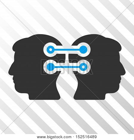 Blue And Gray Dual Heads Interface Connection interface toolbar pictogram. Vector pictograph style is a flat bicolor symbol on diagonal hatch transparent background.