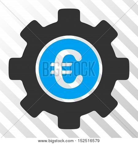 Blue And Gray Euro Development Gear interface toolbar pictogram. Vector pictograph style is a flat bicolor symbol on diagonal hatch transparent background.