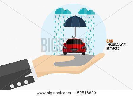 Car insurance business service. Vector illustration concept of insurance.
