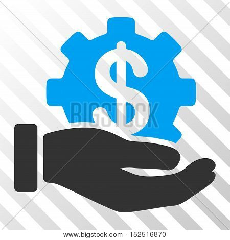 Blue And Gray Financial Development Gear Hand interface icon. Vector pictogram style is a flat bicolor symbol on diagonal hatch transparent background.
