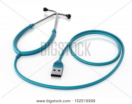 Stethoscope connected to the USB cable. 3D illustration.