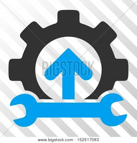 Blue And Gray Gear Integration Tools interface toolbar icon. Vector pictograph style is a flat bicolor symbol on diagonal hatch transparent background.