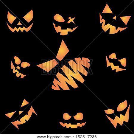 Scary face of Happy Halloween on black night sky.
