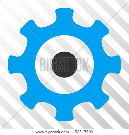 Blue And Gray Gear toolbar icon. Vector pictogram style is a flat bicolor symbol on diagonal hatch transparent background.