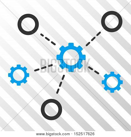Blue And Gray Gears Relations interface icon. Vector pictogram style is a flat bicolor symbol on diagonal hatch transparent background.