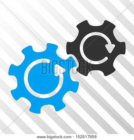 Blue And Gray Gears Rotation interface icon. Vector pictogram style is a flat bicolor symbol on diagonal hatch transparent background.